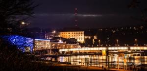 Linz - Nibelungenbrücke bei Nacht