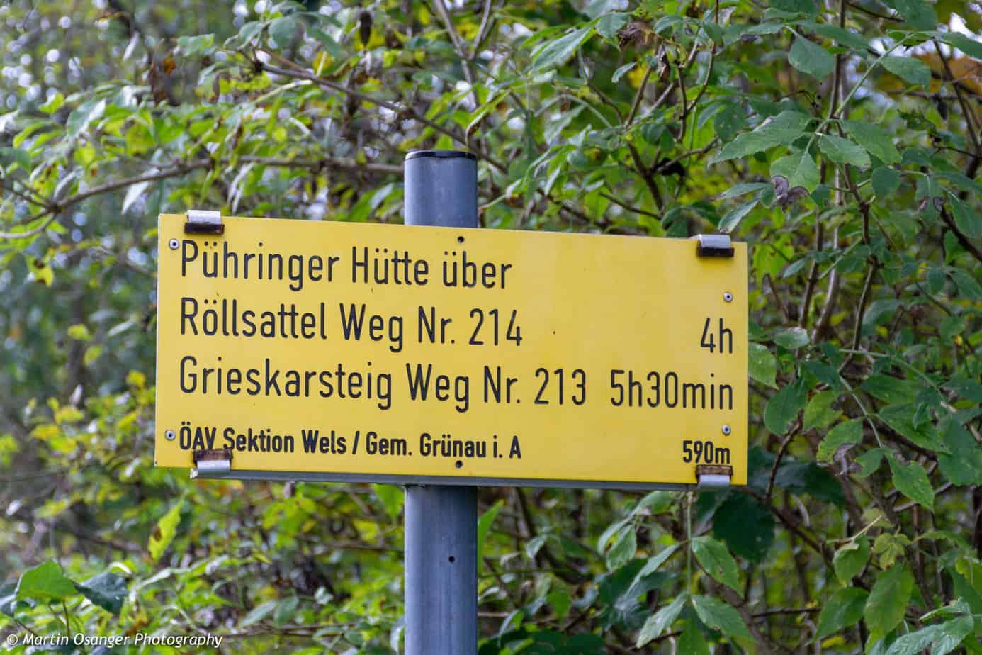 Wegweiser zur Pühringer Hütte